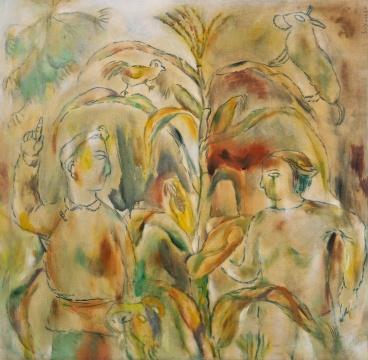 尚扬 《不断掰开的玉米》1986 布面油画 90 × 88cm 签名:S.Y. 1986 华艺国际(北京)2020秋季拍卖会拍品