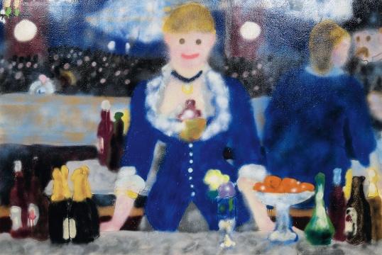 MADSAKI (b.1974)《女神游乐厅的吧台II》2016 布面丙烯、喷漆 113 × 170cm 签名:Madsaki, 2016(背面) 华艺国际(北京)2020秋季拍卖会拍品