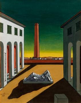 乔治·德·基里科 《意大利广场—夏日午后》1971 布面油画 50.3 × 40.4cm 签名:G.de Chirico 1971 华艺国际(北京)2020秋季拍卖会拍品