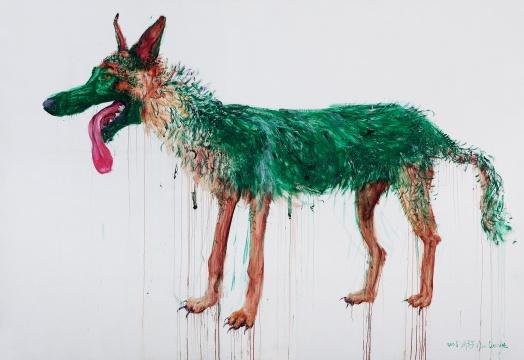 周春芽《站着的TT》2008 布面油画 220 × 320cm 签名:2008 周春芽 Zhou Chunya 华艺国际(北京)2020秋季拍卖会拍品