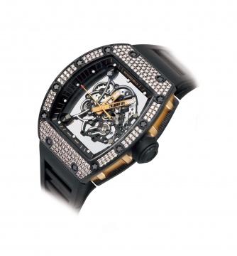 理查德米勒,非常精美及罕有,碳纤维镶钻机械 腕表,型号 RM055 NTPT,约 2018 年
