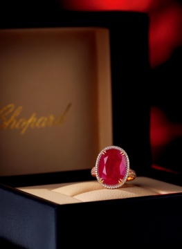 萧邦设计 极其精美罕有 11.15 克拉天然「缅甸 抹谷」「鸽血红」红宝石配钻石戒指,未经加热