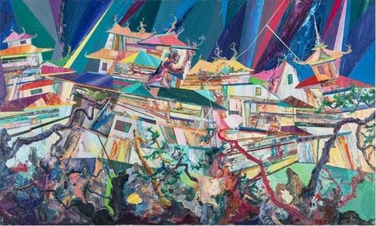 王源远《雷音图》 150×250cm 布面油画 2019图片致谢艺术家和玉兰堂