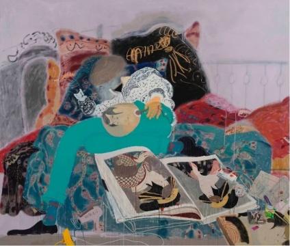 王玉平《梦阳、浮世绘》206x240 cm 布面丙烯、油画棒 2019 图片致谢艺术家