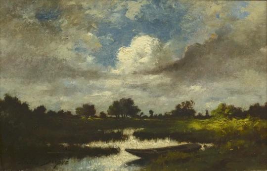 Jules Dupre《landscape》21.5x33cm 木板油画 1852 图片致谢康德美术馆