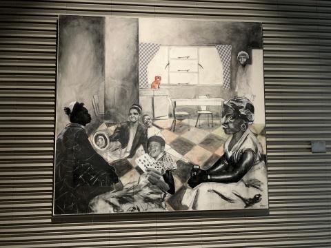 尼奥·马特洛迦 《Mehopolo ya go fapana》280 x 260 cm炭笔、墨水、布面拼贴 2018