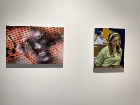 (左)路易莎·加利亚尔迪 《热情》40x60 cm 凝胶、喷墨打印 2019  (右)龚剑 《缪斯 No.3》45x35cm 布面丙烯 2020