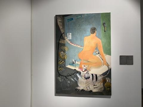 皆藤斋 《自幻-虎》140 x 95 cm 丝绒面油画棒、炭笔、丙烯 2017