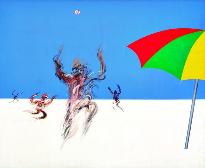 夏阳《海滩》163×98cm 丙烯布面 1990