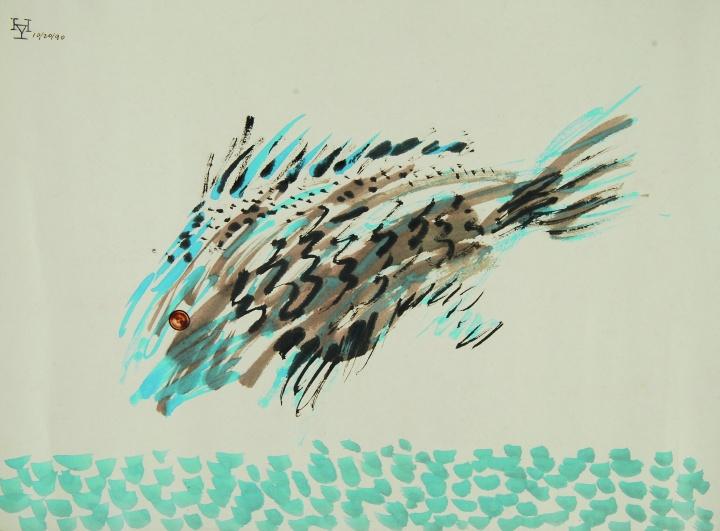 夏阳《鸟抓虫》 47×45.5cm 丙烯、剪贴、纸本1991