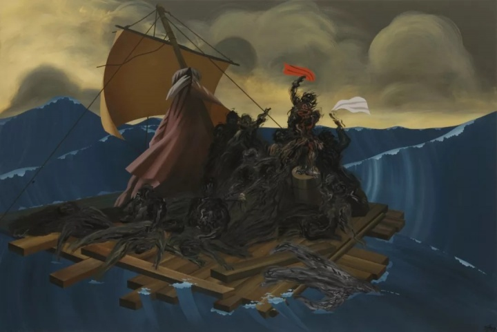 夏阳《美都沙之筏》130×194cm压克力 1997