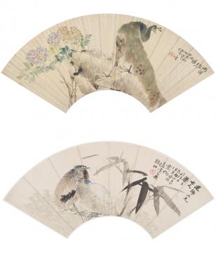 任颐  (1840 - 1895)  孔雀、竹枝鹧鸪  镜心 设色纸本  18 x 52.5 cm(每幅)  无底价