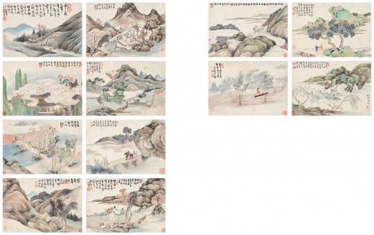 任预(1853 - 1901) 陈半丁(1876 - 1970)  前人诗意册  册页(十二开)设色纸本  21 x 30.5 cm(每幅)  无底价