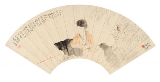 贺天健 (1890-1977) 蕉荫纳凉 镜心 设色纸本 1931年作 18.5 x 52 cm 无底价