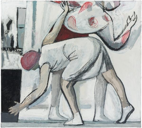刘晓辉 《无题-画面前的动作一号》 80×200cm布面油画2018