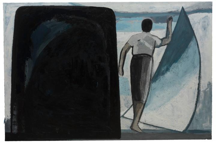刘晓辉 《无题-石头,动作,帆和海》 200×300cm布面油画 2018-2020