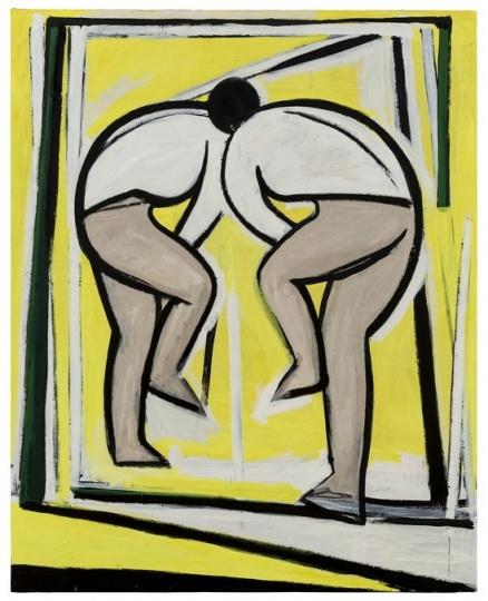 刘晓辉 《无题-黄色背景前的人No.3》 250×200cm 布面油画 2016