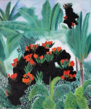 王克举 《海南—火焰树花正红》120x100cm 布面油画 2020  方圆美术馆