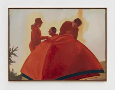 《室外生活(搭帐篷)》101×136 cm 布面油画2020