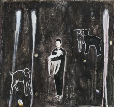 《羔羊》 55x50cm 木炭、水彩、水彩纸 2018