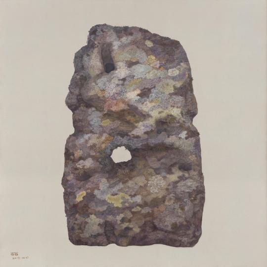 房间墙上的一幅青苔石:《内在的时间》 120×120cm 布面油画 2015