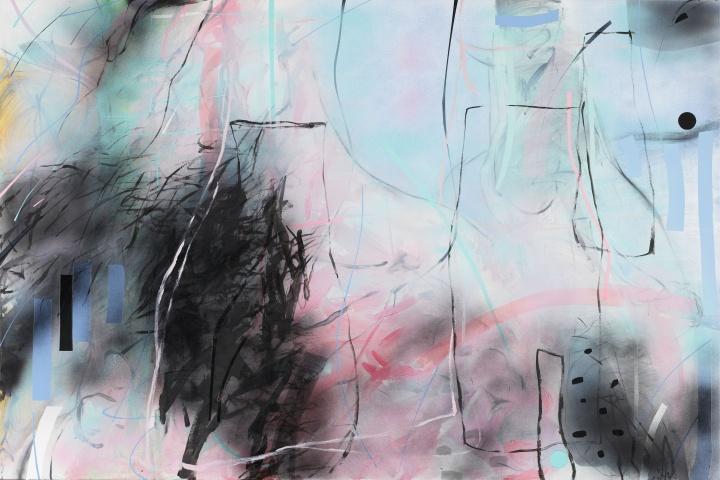 《桃花源》 粉色-线之五200×300cm 布面综合材料 2019