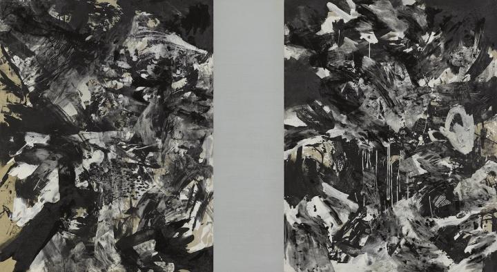 曲德益《黑中黑I》146×266cm布面丙烯、油彩1983
