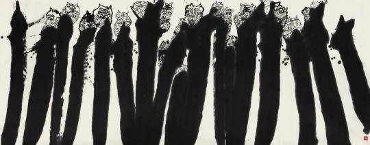 《语世系列》145x365cm纸本水墨、丙烯 2014