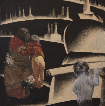 李新建《灵童归来》 78×78cm 布面油画 1987