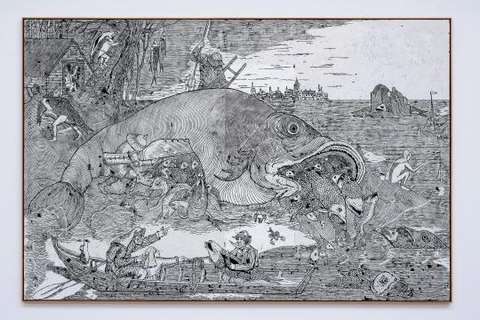 《后勃鲁盖尔大鱼》338 x 224cm 布面蜡彩油画 2019  摄影:雷坛坛©林冠艺术基金会