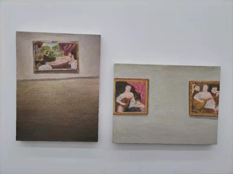 曹应斌 《提香与他的追随者》30×40cm×2 布面油画 2020