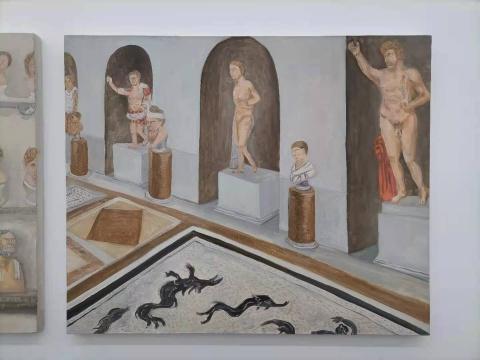 曹应斌 《梵蒂冈博物馆里的雕像》60×73cm布面油画 2020