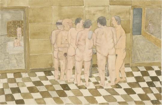 曹应斌 《澡堂吃鸡蛋的男人》 25×38cm 纸上水彩 2015