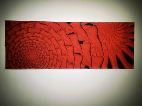 艺术家黄铁舟参展作品,纸喷绘《花》