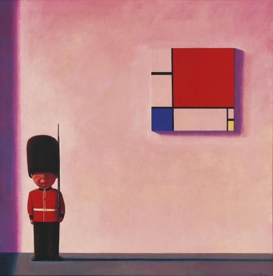 刘野 《蒙德里安在伦敦》 150×150cm 油彩 画布 2001  成交价:2072.42万元  2020佳士得香港现代及当代艺术晚拍