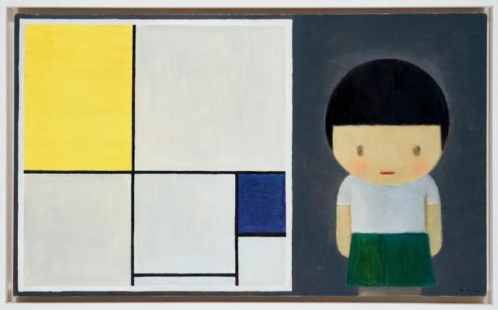 刘野《女孩与蒙德里安》 60×100cm布面油画 2010  成交价:782万元  2020中国嘉德秋拍