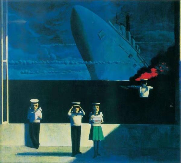 刘野 《海的沉默》 90×100cm丙烯油画 1995  成交价:16.1万港元  1996香港苏富比