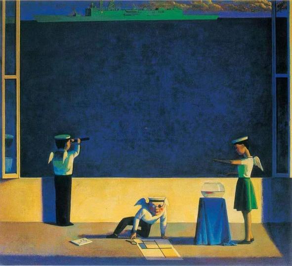 刘野 《海的构成》90×100cm丙烯油画1995  成交价:10.35万港元  1996佳士得香港