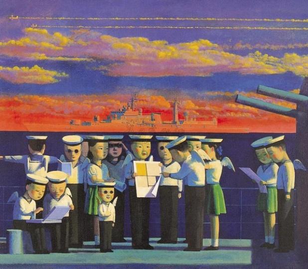 刘野 《海魂》 120×140cm丙烯油画1997  成交价:23万港元  1998佳士得香港
