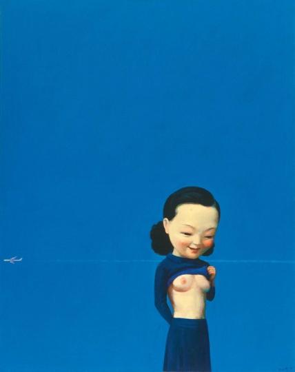 刘野《蓝》80×100cm 布面油画、亚克力彩 2002 成交价:1752.5万港元 2019佳士得香港秋拍