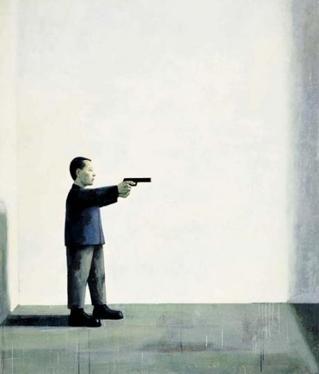 刘野 《自画像》199×171cm 布面油画 1994  成交价:156万港元  2006佳士得香港秋拍