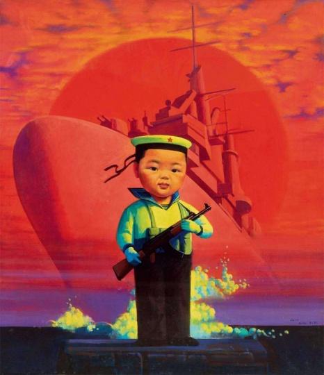 刘野 《小海军》105×91cm 布面油画 2000  成交价:1344万元  2010北京保利春拍