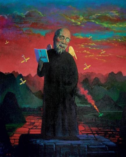 刘野 《齐白石知道蒙德里安》 80×65cm 布面油画 1996  成交价:2912万元  2010北京保利秋拍