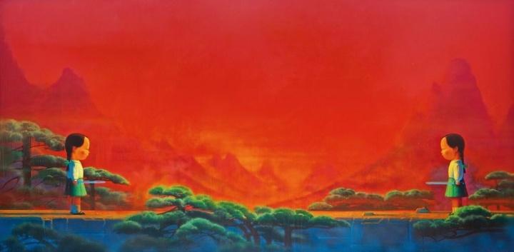 刘野《剑》 180×360cm 布面油画 2001-2002  成交价:4268万港元  2013香港苏富比秋拍