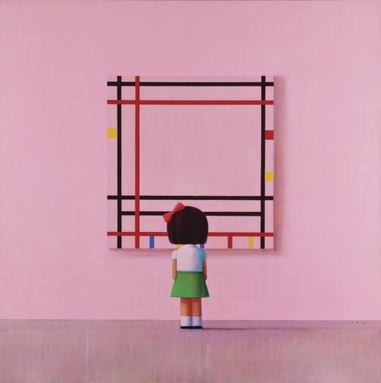刘野 《小女孩在纽约》210×210cm 布面油画、亚克力彩 2006  成交价:1088万港元  2015苏富比香港秋拍