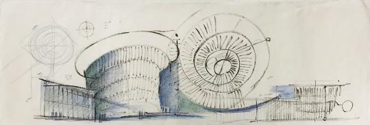 和美术馆馆藏《和美术馆手绘稿》,安藤忠雄,纸本彩铅、墨,2019 ©和美术馆