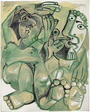 和美术馆馆藏 《裸体的男人女人》,巴勃罗·毕加索 布面油彩、磁漆 ,1968年,©和美术馆