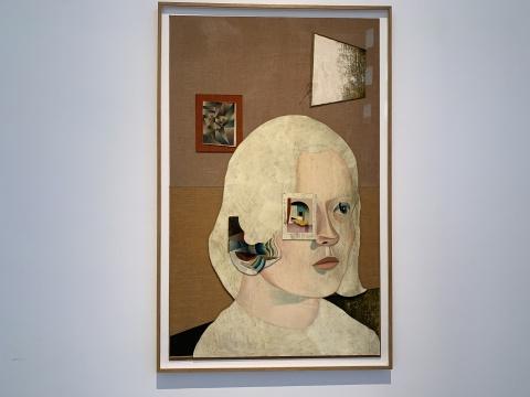 延斯·梵歌 《Therapy》 172.2×110.2cm 板上油画、墨、织物 2018