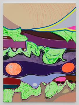 高露迪《汉堡切面》270×200 cm 布面丙烯,水彩,油彩 2020,图片由艺术家和空白空间提供