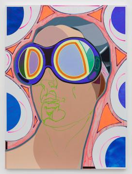 高露迪《防风镜》200×150 cm 布面丙烯,水彩,油彩,油漆 2020-2021,图片由艺术家和空白空间提供